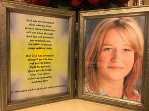 Age progressed photo of Tabitha in a frame accompanied by a prayer